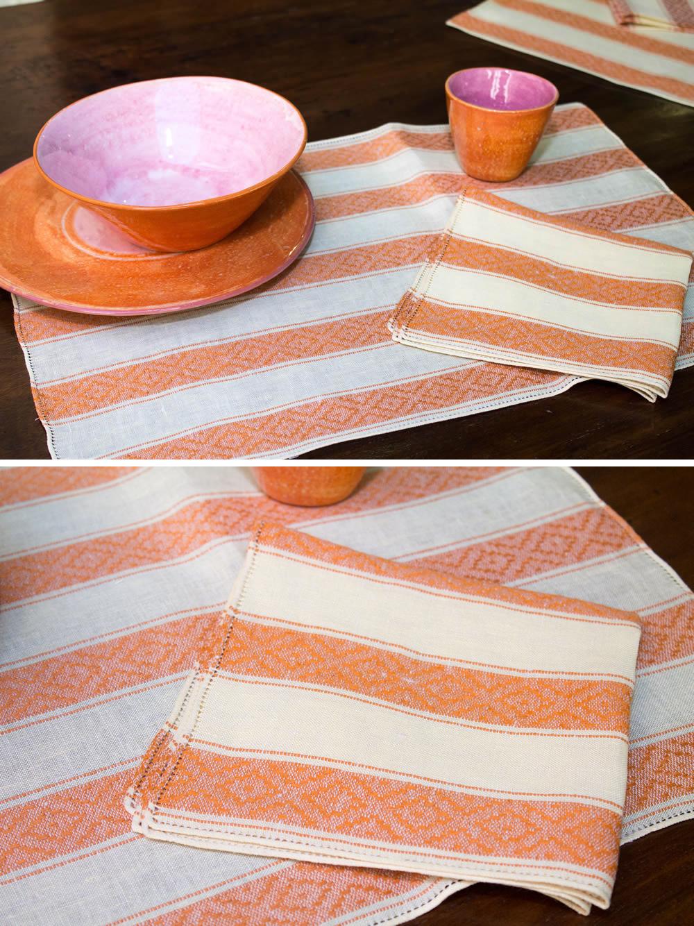Centro tavola tessuto 11A classico color arancio Tela Umbra
