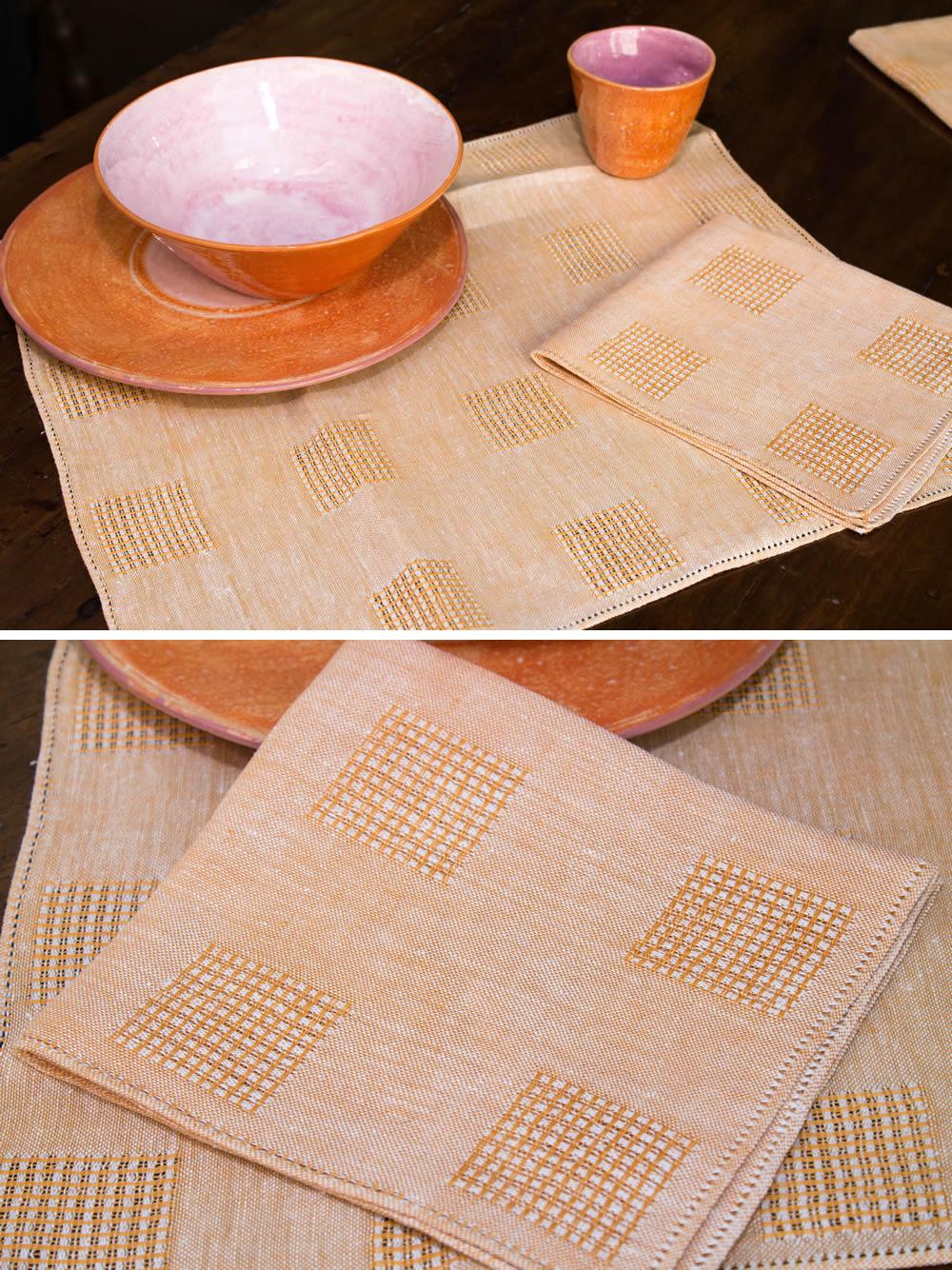 Set americana tessuto 300 classico arancione 2 sottopiatti + 2 tovaglioli